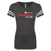 ENZA Ladies Black/White Vintage Triblend Football Tee-Red Balloon Run and Ride - AllianceData