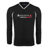 V Neck Black Raglan Windshirt-Andrews Institute Logo