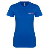 Next Level Ladies SoftStyle Junior Fitted Royal Tee-Andrews Institute Logo