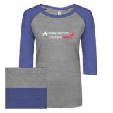 ENZA Ladies Athletic Heather/Blue Vintage Baseball Tee-Andrews Institute Logo