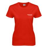 Ladies Red T Shirt-Andrews Institute Logo