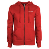 ENZA Ladies Red Fleece Full Zip Hoodie-Childrens Health Logo