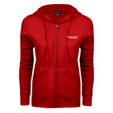 ENZA Ladies Red Fleece Full Zip Hoodie-Andrews Institute Logo