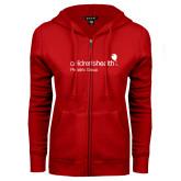 ENZA Ladies Red Fleece Full Zip Hoodie-Pediatric Group