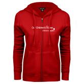 ENZA Ladies Red Fleece Full Zip Hoodie-Our Childrens House
