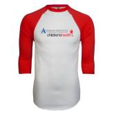 White/Red Raglan Baseball T-Shirt-Andrews Institute Logo
