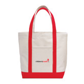 Contender White/Red Canvas Tote-Childrens Health Logo
