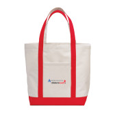 Contender White/Red Canvas Tote-Andrews Institute Logo