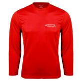 Performance Red Longsleeve Shirt-Andrews Institute Logo