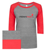 ENZA Ladies Athletic Heather/Red Vintage Triblend Baseball Tee-Childrens Health Logo