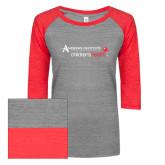 ENZA Ladies Athletic Heather/Red Vintage Triblend Baseball Tee-Andrews Institute Logo