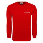 Red Long Sleeve T Shirt-Andrews Institute Logo