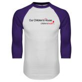White/Purple Raglan Baseball T Shirt-Our Childrens House