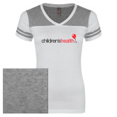 Ladies White/Heathered Nickel Juniors Varsity V Neck Tee-Childrens Health Logo