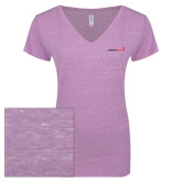 ENZA Ladies Violet Melange V Neck Tee-Childrens Health Logo