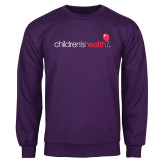 Purple Fleece Crew-Childrens Health Logo