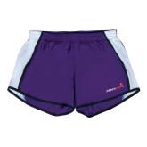 Ladies Purple/White Team Short-Childrens Health Logo