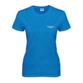 Ladies Sapphire T Shirt-Andrews Institute Logo