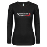 Ladies Black Long Sleeve V Neck Tee-Andrews Institute Logo