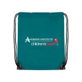 Teal Drawstring Backpack-Andrews Institute Logo