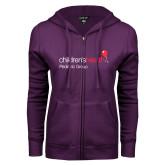 ENZA Ladies Purple Fleece Full Zip Hoodie-Pediatric Group