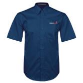 Navy Twill Button Down Short Sleeve-Childrens Health Logo