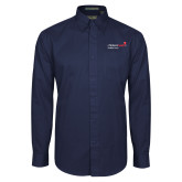 Navy Twill Button Down Long Sleeve-Pediatric Group