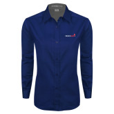 Ladies Navy Twill Button Down Long Sleeve-Childrens Health Logo
