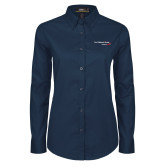 Ladies Navy Twill Button Down Long Sleeve-Our Childrens House