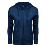 ENZA Ladies Navy Fleece Full Zip Hoodie-Childrens Health Logo