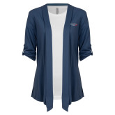 Ladies Navy Drape Front Cardigan-Our Childrens House