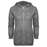 ENZA Ladies Grey/Black Marled Full Zip Hoodie-Childrens Health Logo