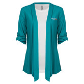 Ladies Teal Drape Front Cardigan-Our Childrens House