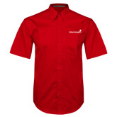 Red Twill Button Down Short Sleeve-Childrens Health Logo