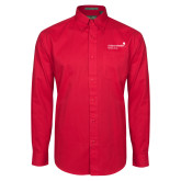 Red Twill Button Down Long Sleeve-Pediatric Group