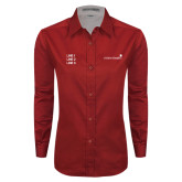 Ladies Red Twill Button Down Long Sleeve-Childrens Health Logo