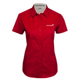 Ladies Red Twill Button Up Short Sleeve-Childrens Health Logo