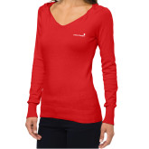 Ladies Fuse Red V Neck Sweater-Childrens Health Logo