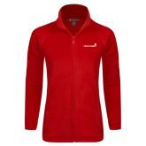 Ladies Fleece Full Zip Red Jacket-Childrens Health Logo