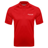 Red Textured Saddle Shoulder Polo-Andrews Institute Logo