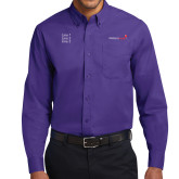 Purple Twill Button Down Long Sleeve-Childrens Health Logo