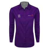 Ladies Purple Twill Button Down Long Sleeve-Childrens Health Logo