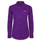 Ladies Purple Twill Button Down Long Sleeve-Pediatric Group