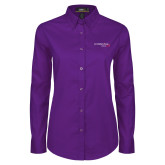 Ladies Purple Twill Button Down Long Sleeve-Our Childrens House
