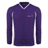 Colorblock V Neck Purple/White Raglan Windshirt-Childrens Health Logo