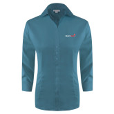 Ladies Red House Teal 3/4 Sleeve Shirt-Childrens Health Logo