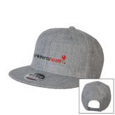 Heather Grey Wool Blend Flat Bill Snapback Hat-Childrens Health Logo