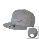 Heather Grey Wool Blend Flat Bill Snapback Hat-Andrews Institute Logo