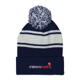 Navy/White Two Tone Knit Pom Beanie w/Cuff-Childrens Health Logo