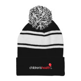 Black/White Two Tone Knit Pom Beanie w/Cuff-Childrens Health Logo